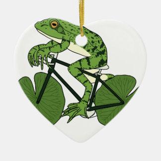 Frosch-Reitfahrrad mit Lilien-Auflage-Rädern Keramik Ornament
