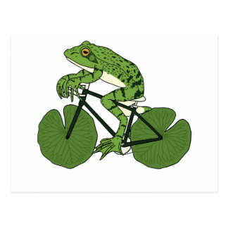 Frosch-Reitfahrrad mit Lilien-Auflage-Rädern Postkarte