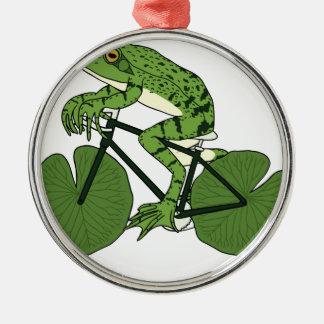 Frosch-Reitfahrrad mit Lilien-Auflage-Rädern Silbernes Ornament