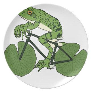 Frosch-Reitfahrrad mit Lilien-Auflage-Rädern Teller