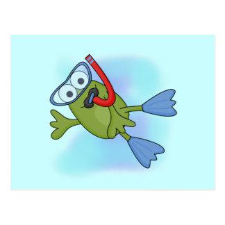 Frosch Snorkeler T - Shirts und Geschenke Postkarte
