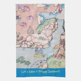 Frosch-Sommer-Geschirrtuch Handtuch