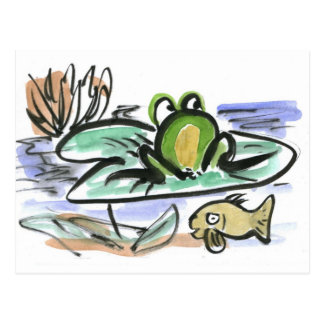 Frosch-Teich - über und unter Postkarte