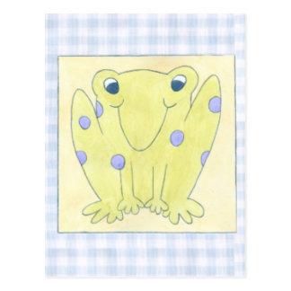 Frosch-Trio auf Gingham-Stoff Postkarte