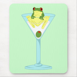 Frosch u. Olive in Martini-Glas Mousepad