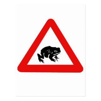 Frosch-Überfahrt, Verkehrszeichen, Großbritannien Postkarte