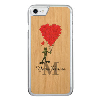 Frosch und rotes Herzmonogramm Carved iPhone 7 Hülle