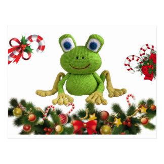 Frosch von Häkelnadel für Weihnachten mit seinen Postkarte