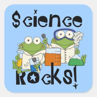 Frosch-Wissenschafts-Felsen Quadratischer Aufkleber