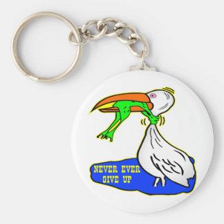 Frosch-würgend Vogel geben nie überhaupt auf Standard Runder Schlüsselanhänger