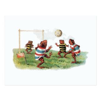 Frösche, die Fußball spielen Postkarte