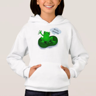 Froschillustrations-Cartoon auf einem Blatt Hoodie