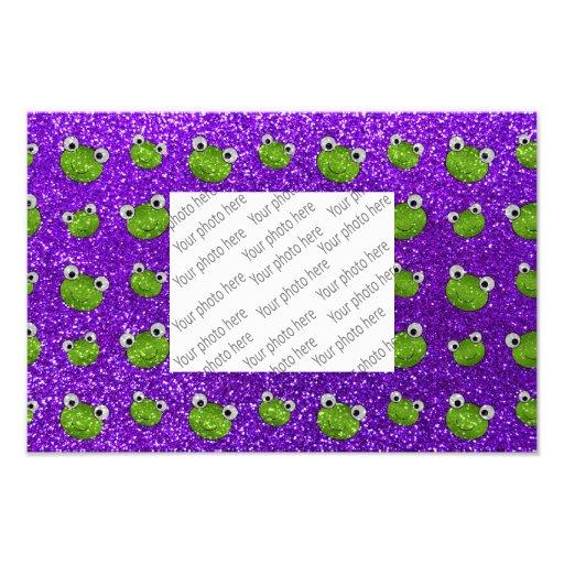 Froschkopf-Glittermuster des Indigos lila Fotografischer Druck
