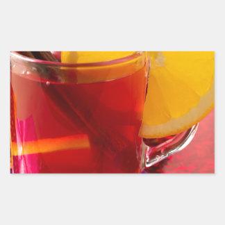 Frucht-Glühwein mit Zimt und Orange Rechteckiger Aufkleber