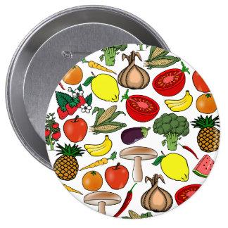 Frucht u. Veggiesknopf, enorm Runder Button 10,2 Cm