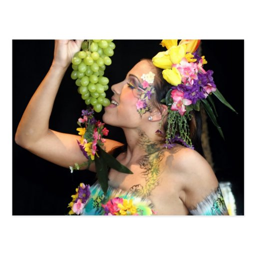 früchtchen, grapes, fruits, bodypainting, bodyart postkarte
