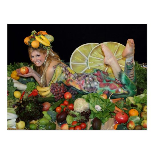 früchte obst postkarte, post card, vegetarian card postkarte