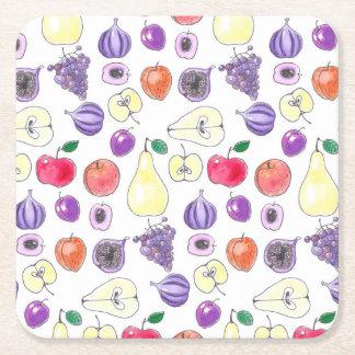 Fruchtmuster Rechteckiger Pappuntersetzer