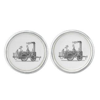 Frühe Dampf-Lokomotive Manschettenknöpfe