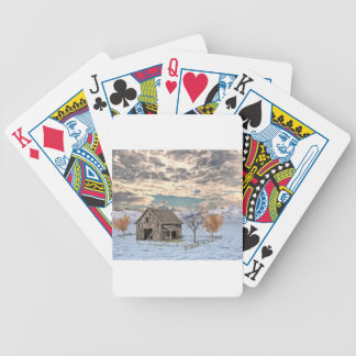 Frühe Winter-Scheunen-Szene Bicycle Spielkarten