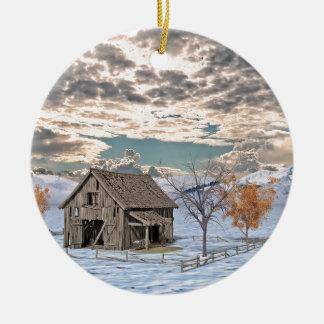Frühe Winter-Scheunen-Szene Keramik Ornament