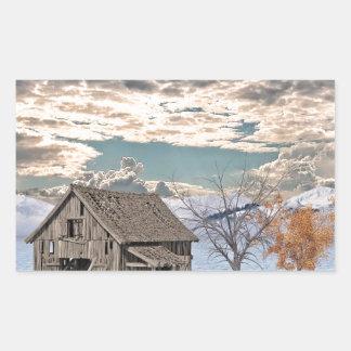 Frühe Winter-Scheunen-Szene Rechteckiger Aufkleber
