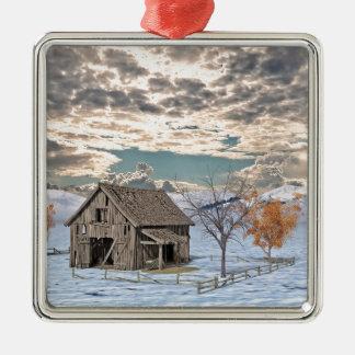 Frühe Winter-Scheunen-Szene Silbernes Ornament