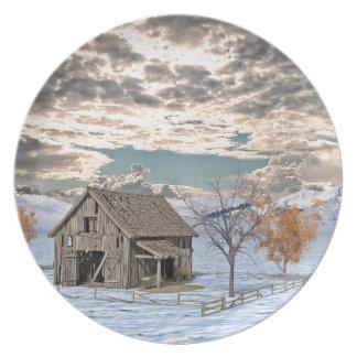 Frühe Winter-Scheunen-Szene Teller