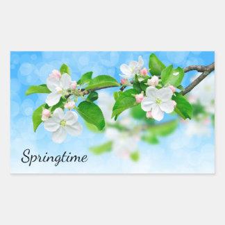 Frühjahr (Apfel-Blumen) Rechteckiger Aufkleber