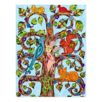 Frühjahr-Baum des Lebens Postkarte