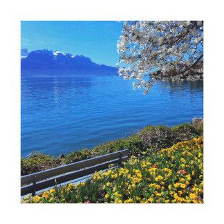 Frühjahr in Genf oder Leman See, Montreux, Swit Leinwanddruck
