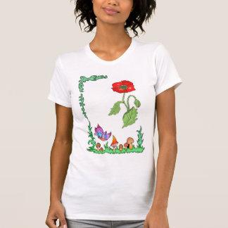 Frühjahr ist Schmetterlinge und rote Mohnblume T-Shirt