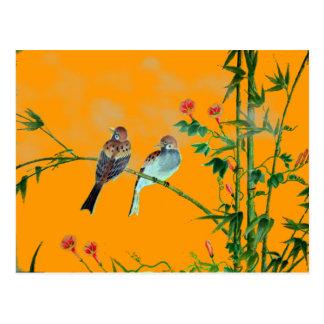 Frühjahr-Spatzen Postkarte