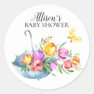 Frühjahr-Tulpe-Baby-Duschen-Umschlag Aufkleber