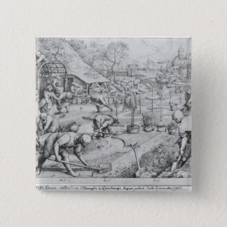 Frühling, 1565 quadratischer button 5,1 cm