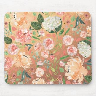 Frühling erröten Pfirsich-Aquarell-Blumengoldbüro Mousepad