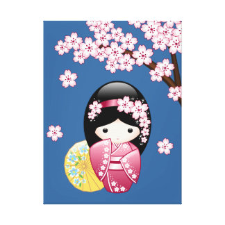 Frühling Kokeshi Puppe - niedlicher japanischer Leinwanddruck