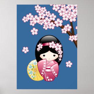 Frühling Kokeshi Puppe - niedlicher japanischer Poster