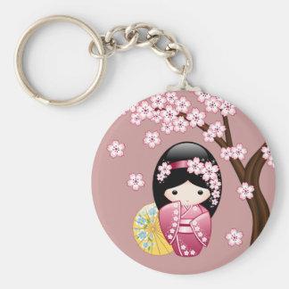 Frühling Kokeshi Puppe - niedlicher japanischer Schlüsselanhänger