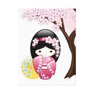 Frühling Kokeshi Puppe - niedliches japanisches Leinwanddruck