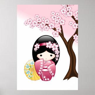 Frühling Kokeshi Puppe - niedliches japanisches Poster