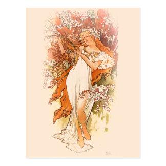 Frühling - Kunst Nouveau Alphonse Mucha Postkarte
