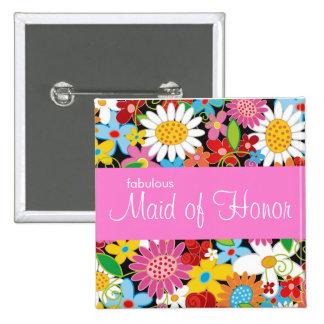 Frühlings-Blumen, die Chic-Trauzeugin-Namen-Umbau  Button