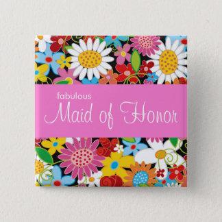 Frühlings-Blumen, die Chic-Trauzeugin-Namen-Umbau Quadratischer Button 5,1 Cm