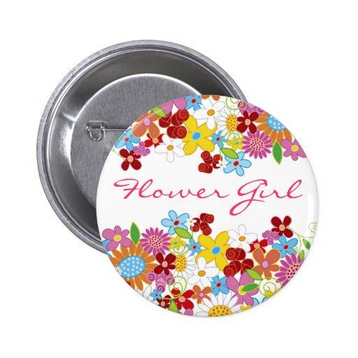 Frühlings-Blumen-Garten BLUMEN-MÄDCHEN Hochzeits-K Buttons