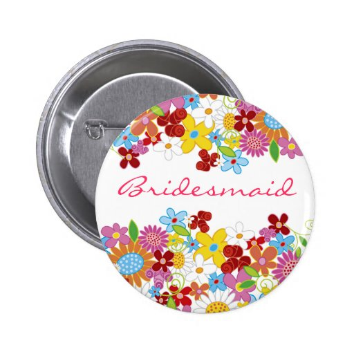 Frühlings-Blumen-Garten BRAUTJUNGFER Hochzeits-Nam Button