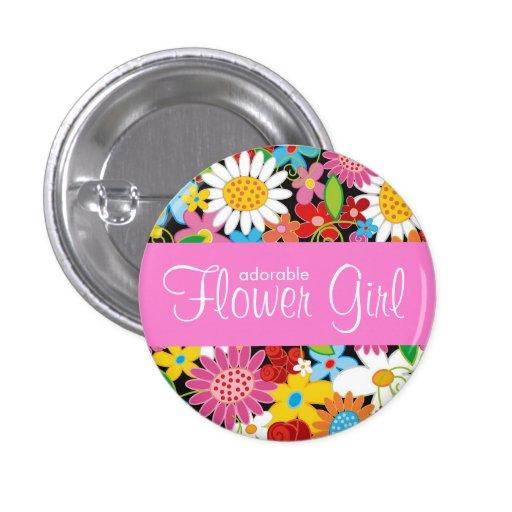 Frühlings-Blumen-Garten-Hochzeits-Blumen-Mädchen-N Anstecknadelbutton