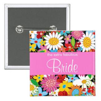 Frühlings-Blumen-Garten-Hochzeits-Braut-süßer Quadratischer Button 5,1 Cm