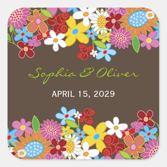 Frühlings-Blumen-Garten-wunderliche Gastgeschenke Quadratischer Aufkleber