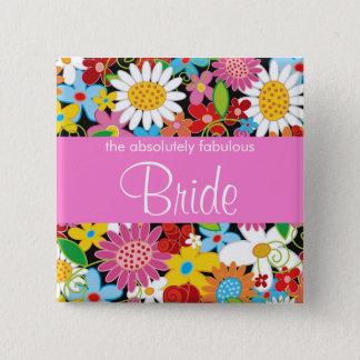 Frühlings-Blumen-Gartenchic-Hochzeit BRAUT Quadratischer Button 5,1 Cm